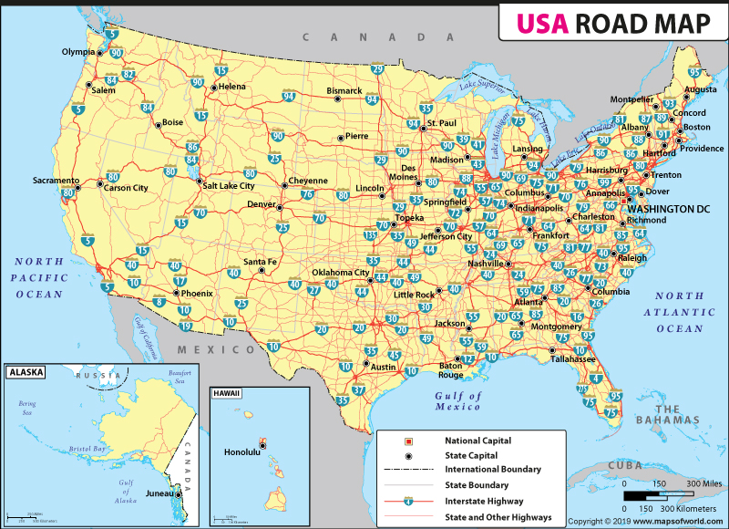 US Road Map, Road Map of USA