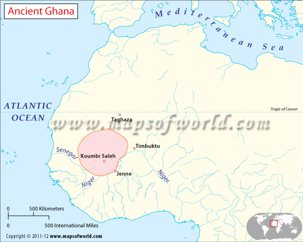 Ghana On A World Map.Ancient Ghana Map