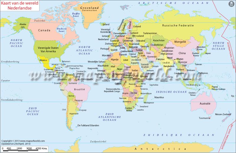 Wereldkaart met alle landen.