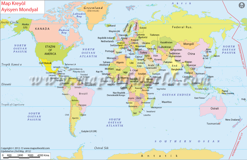 Haiti Map Of World.Mond Kat Jeyografik World Map In Haitian Creole