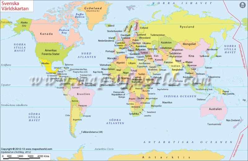 Karta över världen, World Map in Swedish