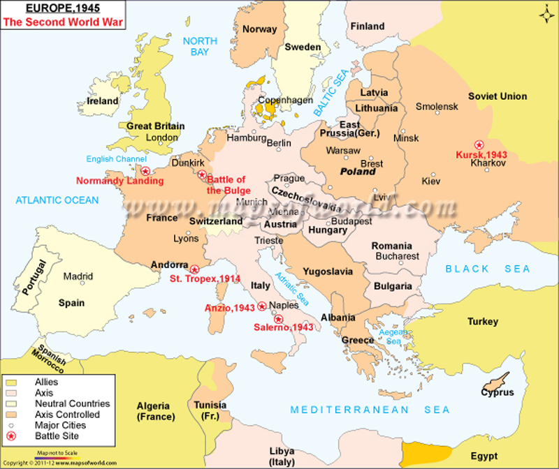 WW2 Map of Europe | Map of Europe during WW2