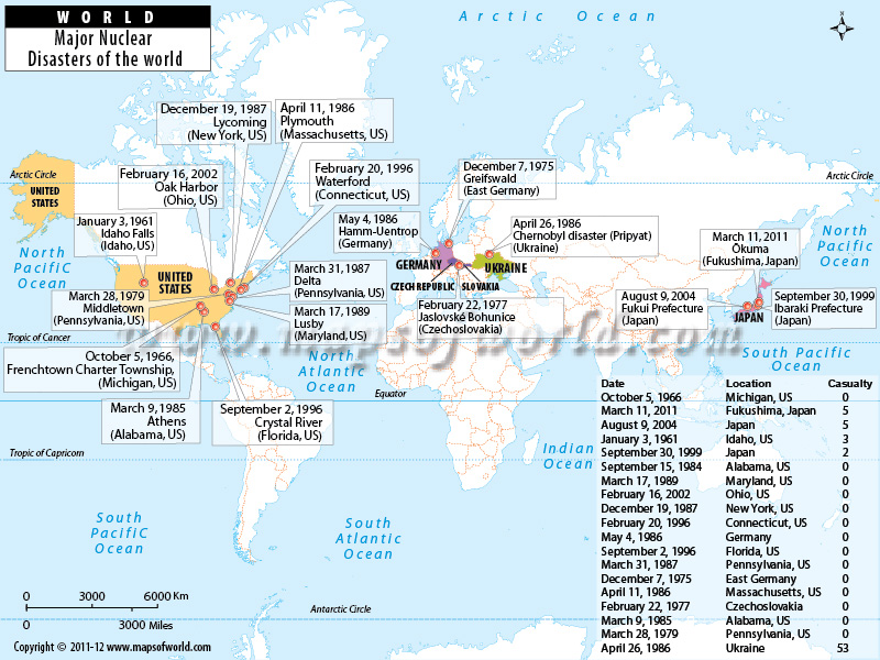 World Map Major Nuclear Disasters Of The World - Us nuclear plant meltdown map