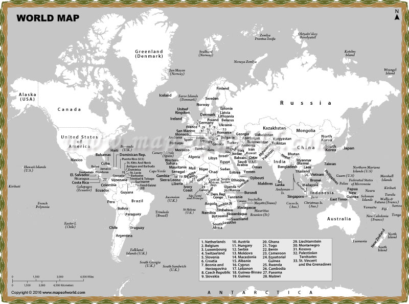 Black and White World Map with Countries Names