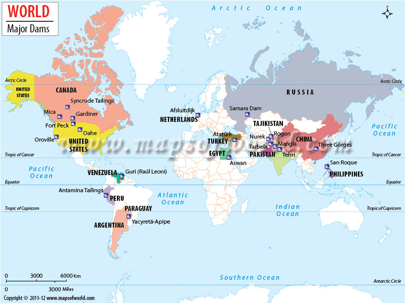Largest Dams In The World Map Of World Major Dams - World big river map