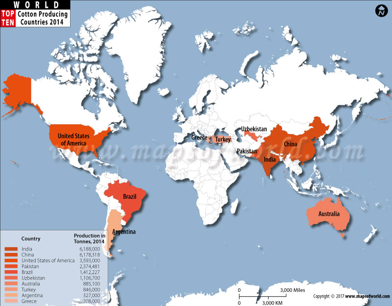 Top  Cotton Producing Countries World Top Ten - Us wheat production map