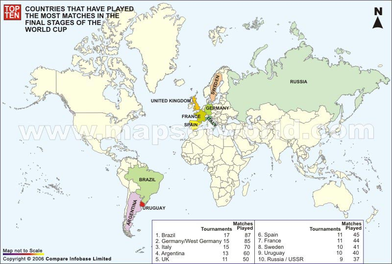 Football Map Of Spain.Countries Most Played In Football World Cup Final Matches World