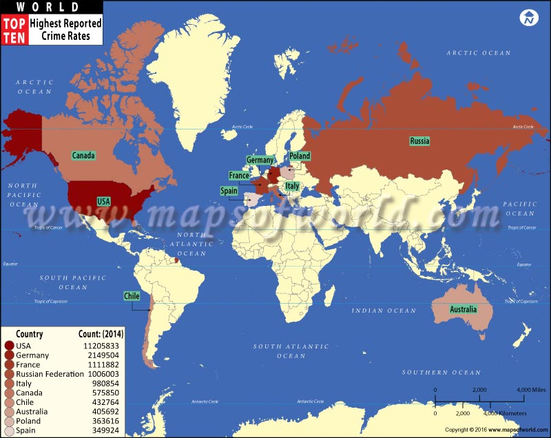 Countries with highest reported crime rates world top ten top ten highest reported crime rates countries map sciox Images
