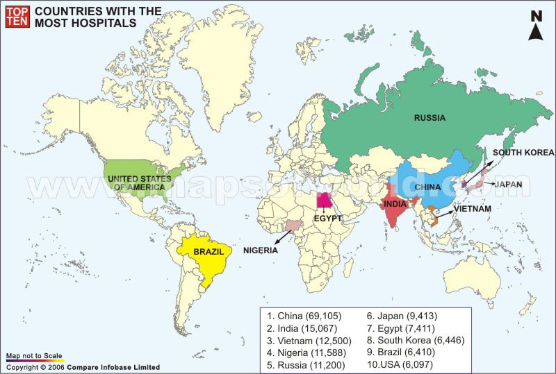 World Top Ten Countries by Hospital Map
