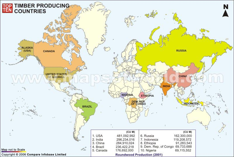 Countries With Most Timber Producing Countries World Top Ten - Us lumber industry map 1900