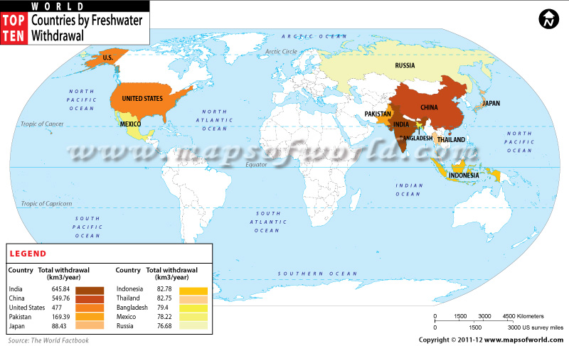 Countries by freshwater withdrawal world top ten world map with top ten countries by freshwater withdrawal gumiabroncs Image collections