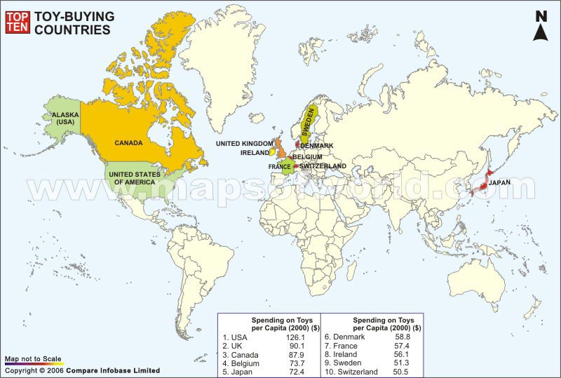 Toy Buying Countries Map
