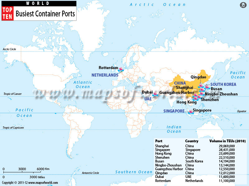 Busiest Container Ports World Top Ten - China to us seaports map