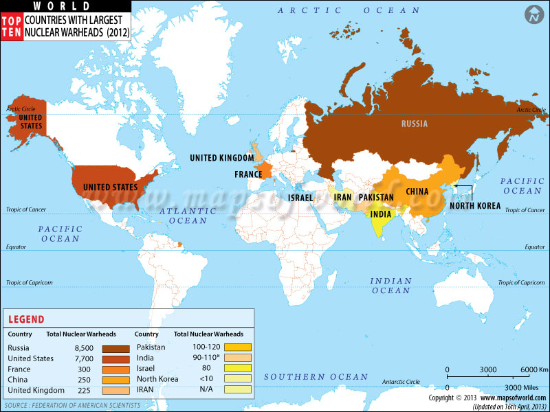 Countries With Nuclear Weapons - Us nuclear weapons map