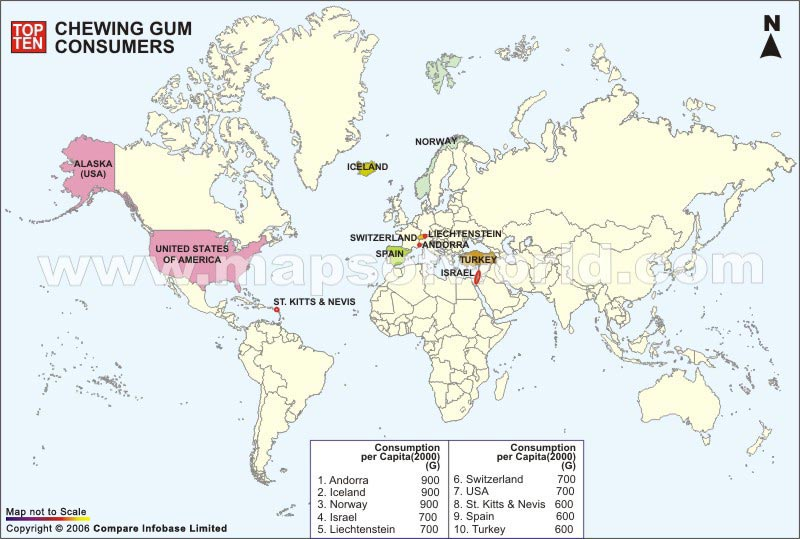 Top Ten Chewing Gum Consumer Countries