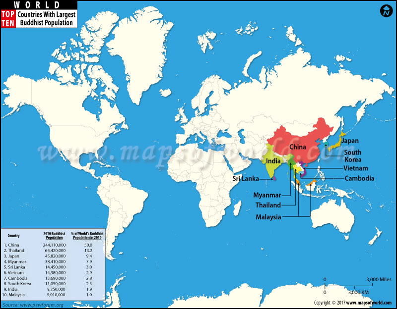 World Top Ten Countries With Largest Buddhist Populations Map