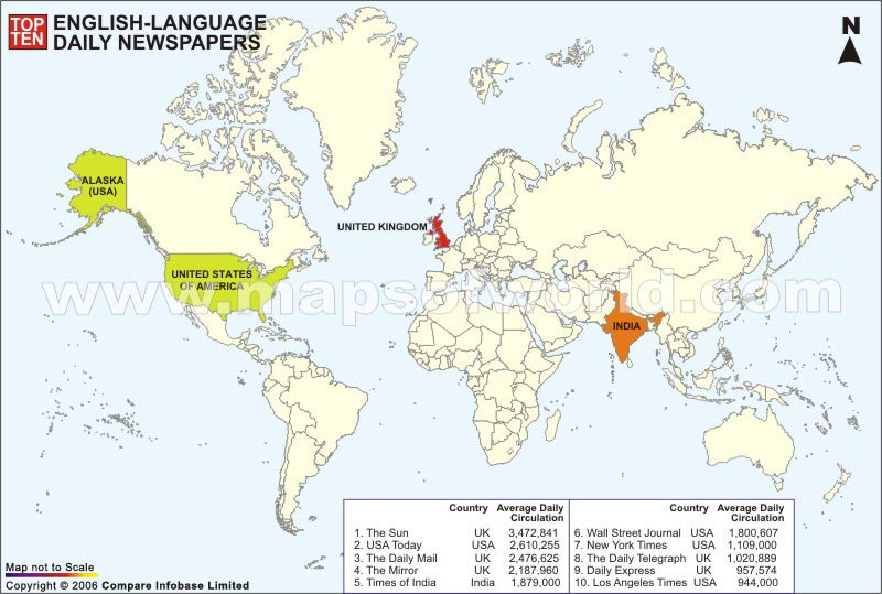 World Top Ten English Language Daily Newspaper Map