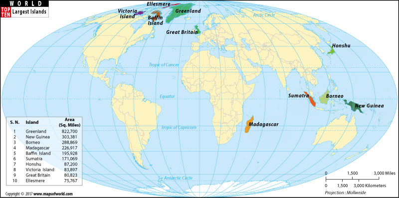 Largest Islands Of The World Top Ten Largest Islands - Islands map