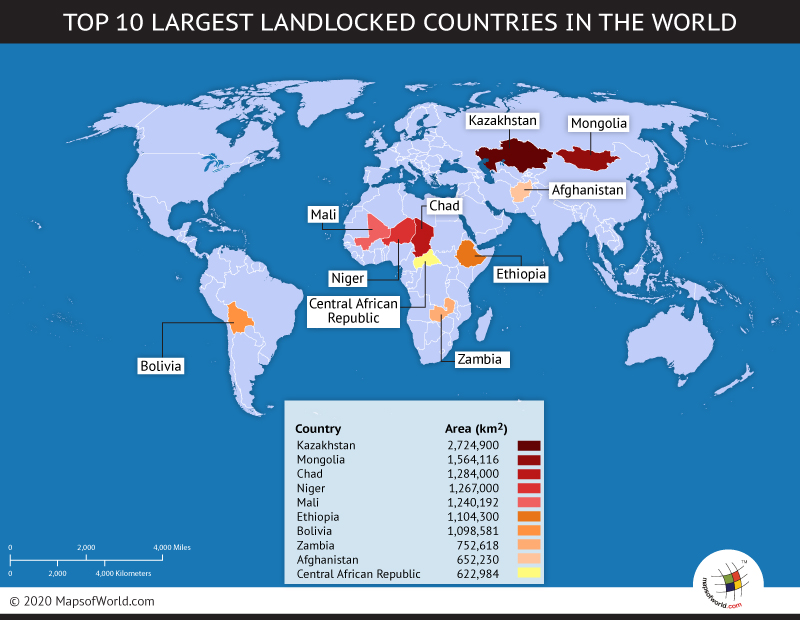 World Top Ten Largest Landlocked Countries Map