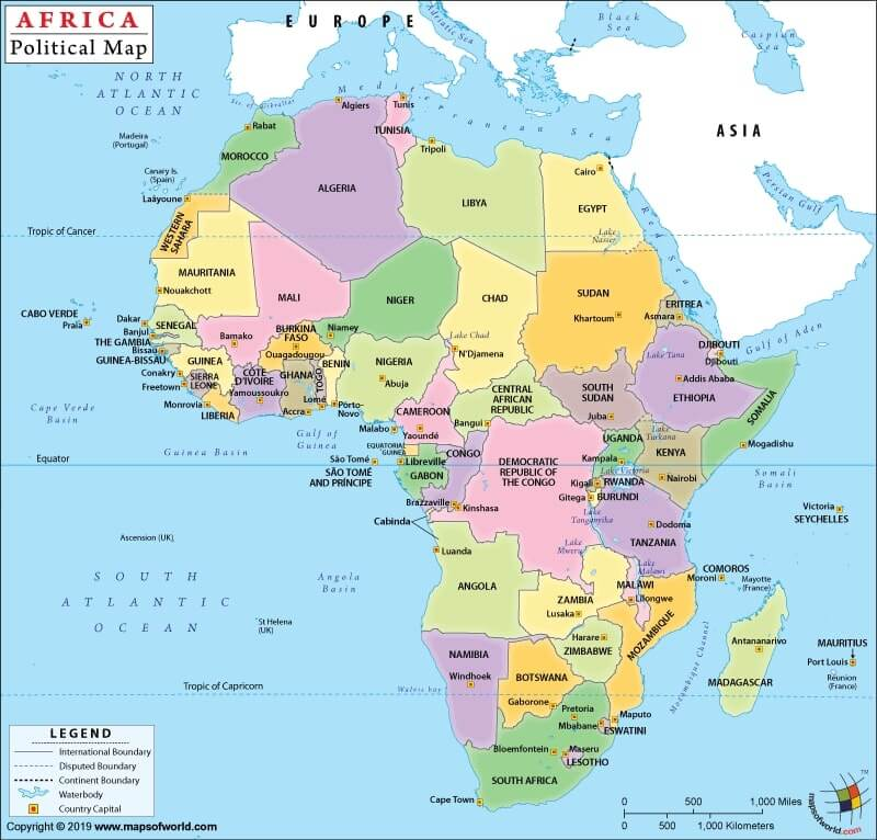 Africa political map showing all African Countries.
