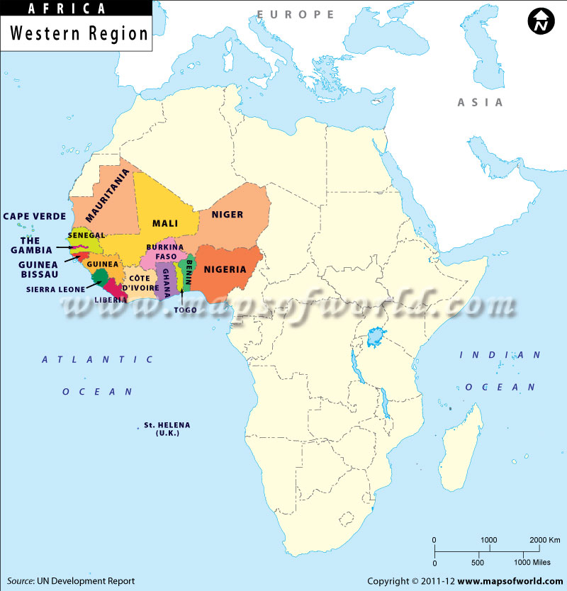 This map shows territorial boundaries of west african countries