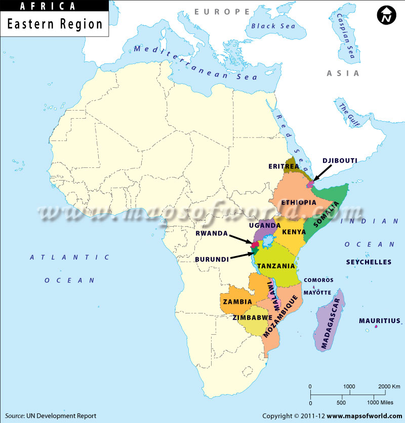 Eastern Africa Region Map East African Countries – Eastern Map