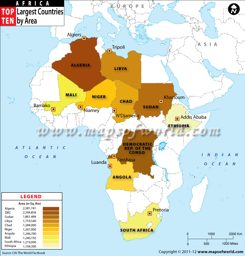 Top Ten Largest African Countries by Area