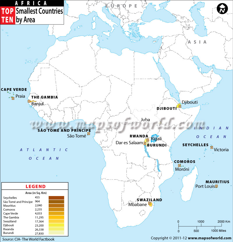 Top Ten Smallest African Countries by Area