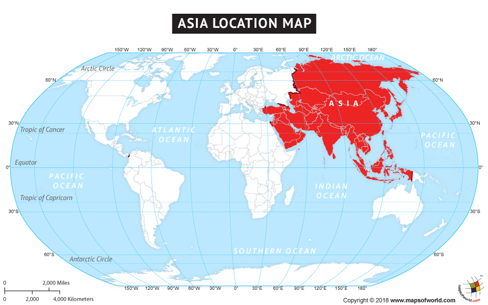 Where is Asia Asia Location in World Map