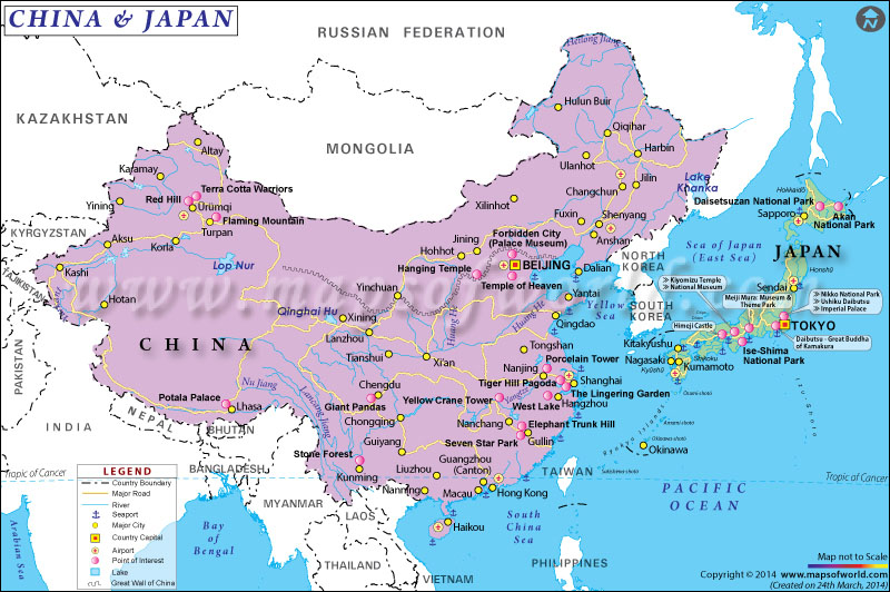 Map of China and Japan