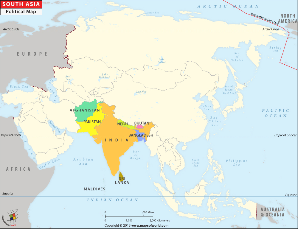 South Asia Map Map of Countries in South Asia – The Map of South Asia