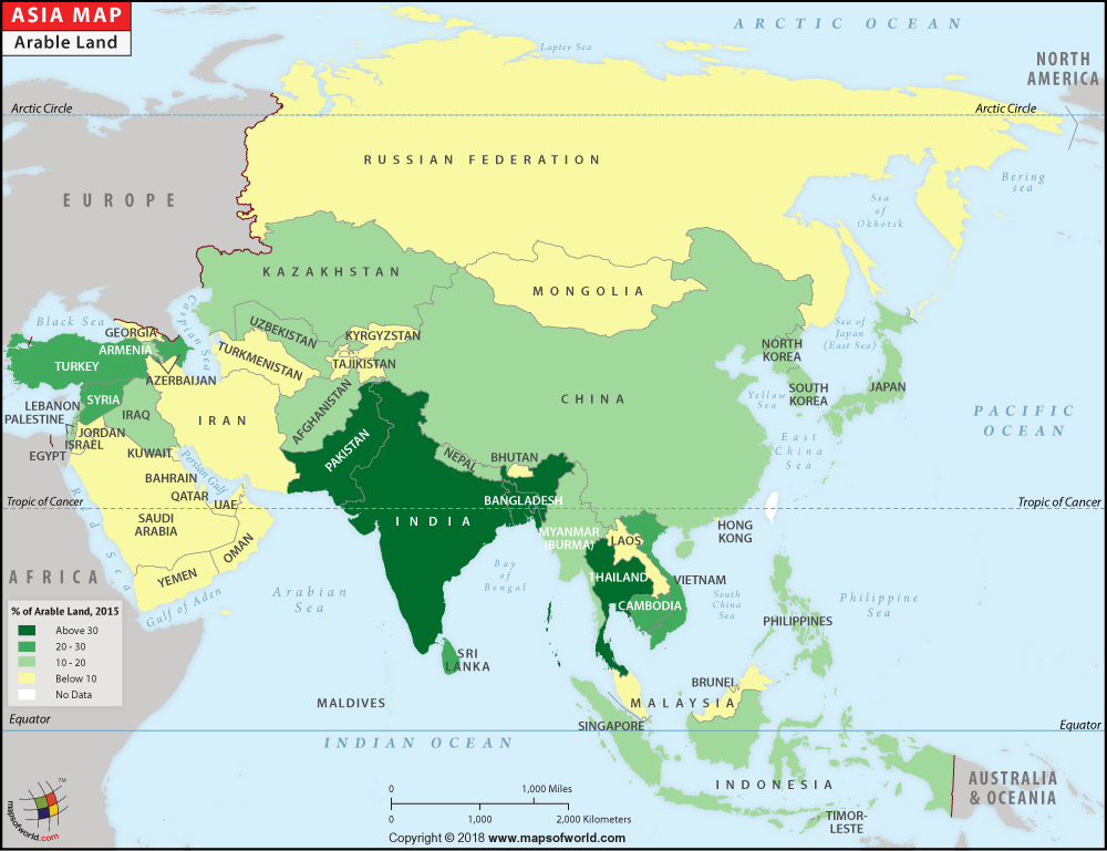 Asia Arable Land - Agriculture Land in Asia