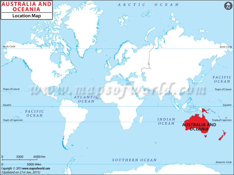 Where is Oceania – Location of Australia on World Map