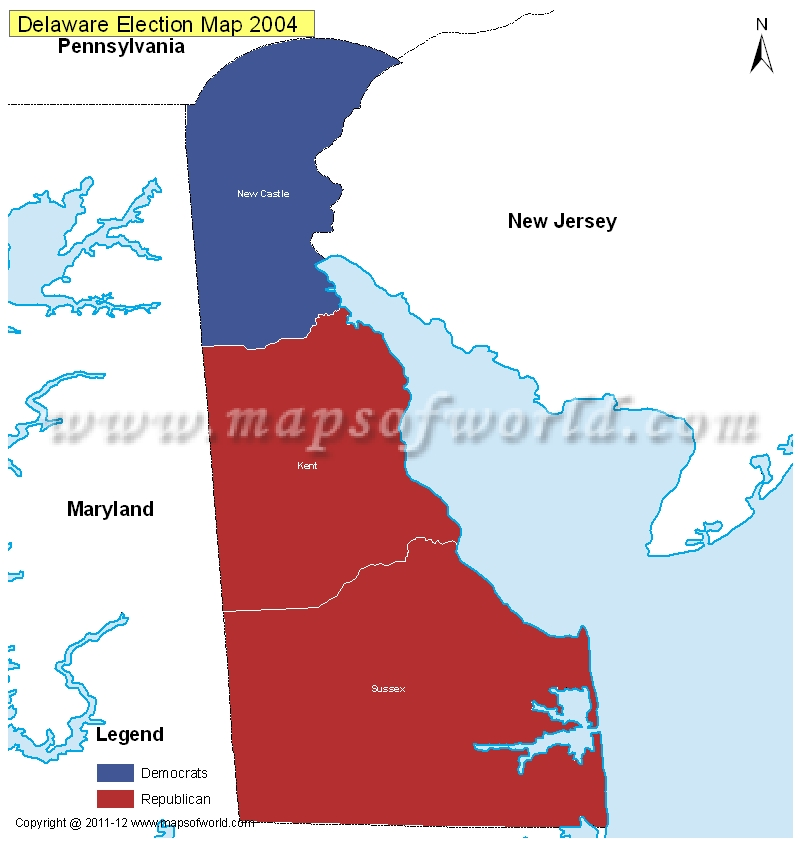 Delaware Election Results Map 2004 Vs 2008  US Election