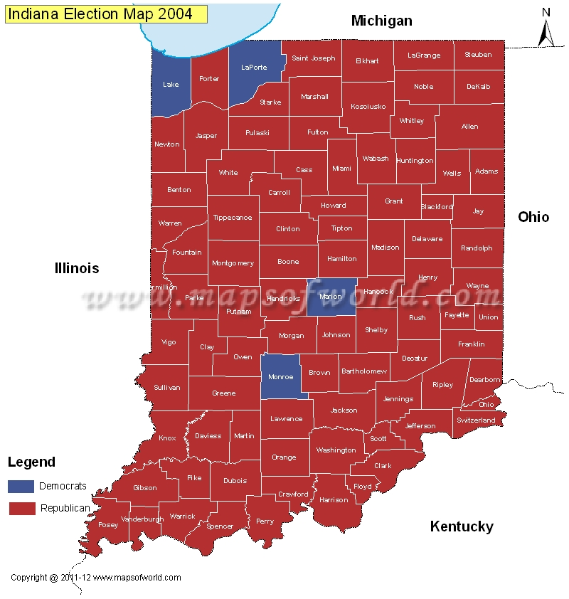 Indiana Election Results Map 2004 Vs 2008  US Election