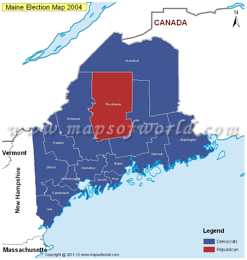 Maine Election Results Map 2004 Vs 2008  US Election