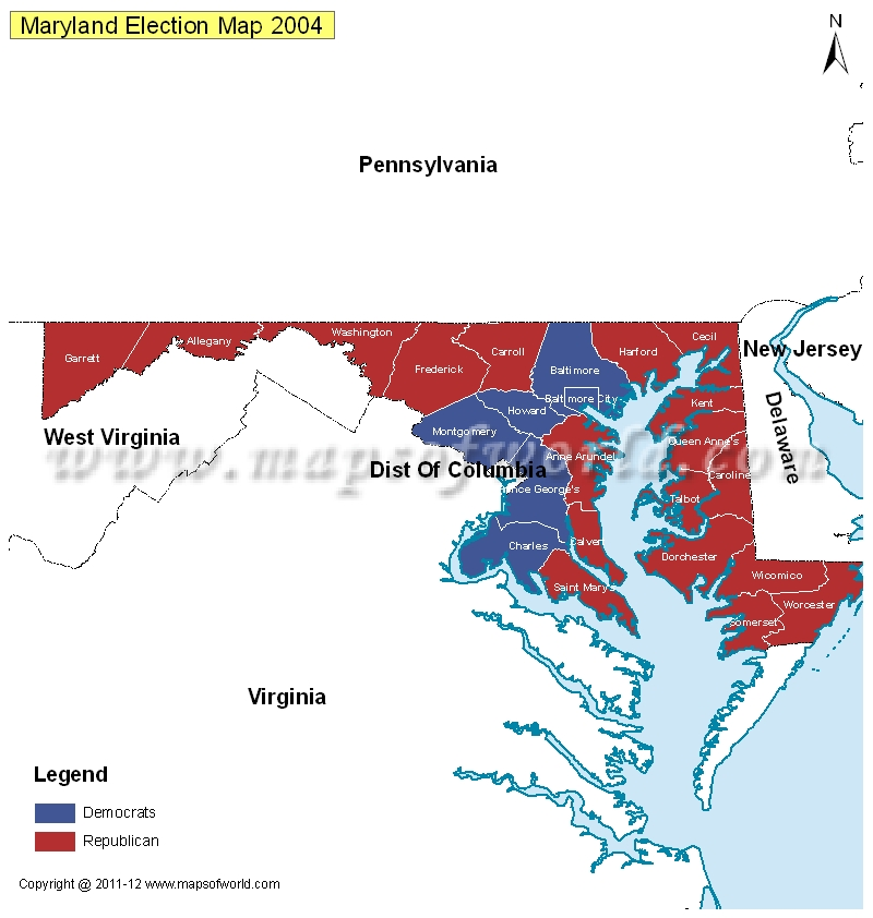 Maryland Election Results Map 2004 Vs 2008  US Election