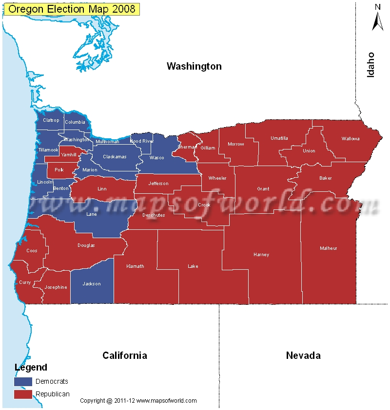 Oregon Election Results Map 2004 Vs 2008  US Election