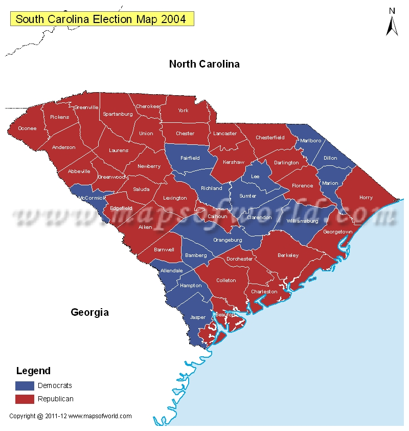 South Carolina Election Results Map 2004 Vs 2008  US Election