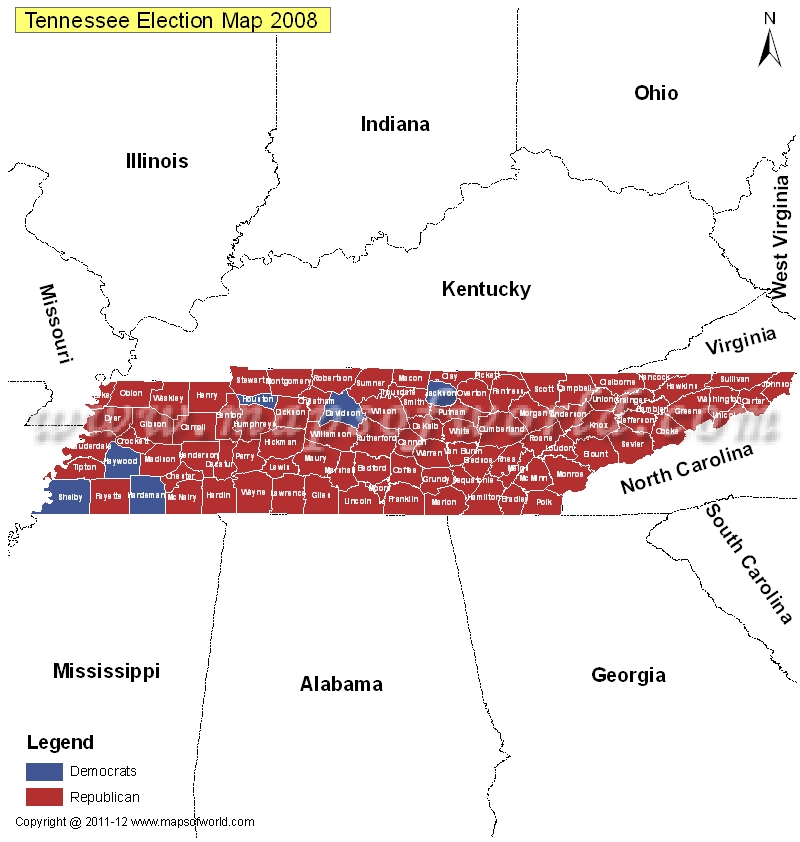 Tennessee Election Results Map 2004 Vs 2008 - US Election