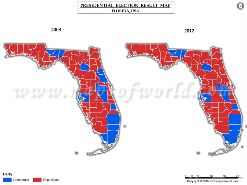 Florida Election Results 2016 Map  Results By County