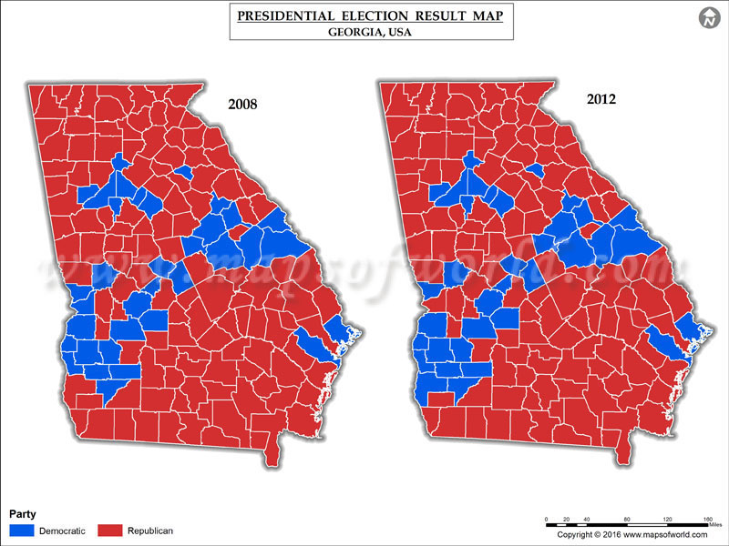 Georgia Election Results 2016  Map County Results Live