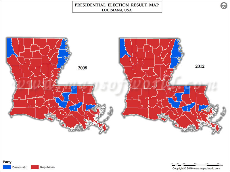 Louisiana Election Results 2016  Map County Results