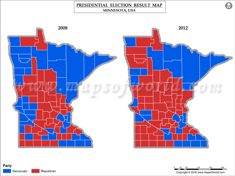 Minnesota Election Results 2016  Map County Results