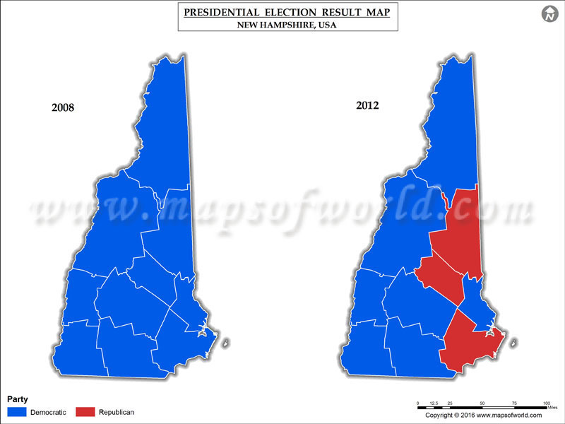 New Hampshire Election Results 2016  Map County Results