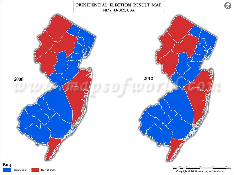 New Jersey Election Results 2016  Map County Results