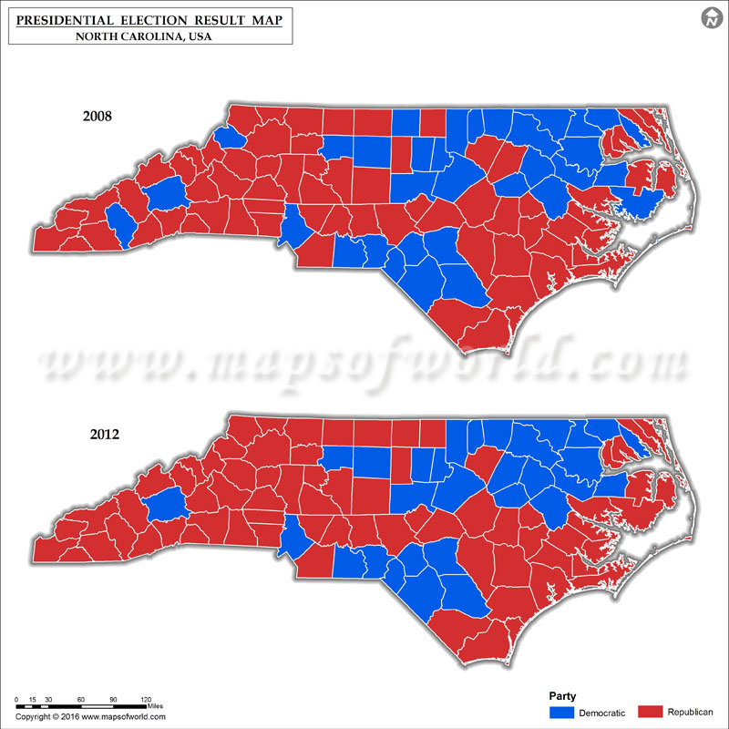 North Carolina Election Results 2016  Map County Results