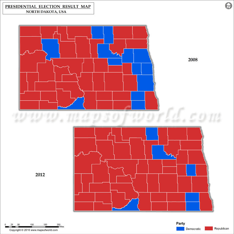 North Dakota Election Results 2016  Map County Results