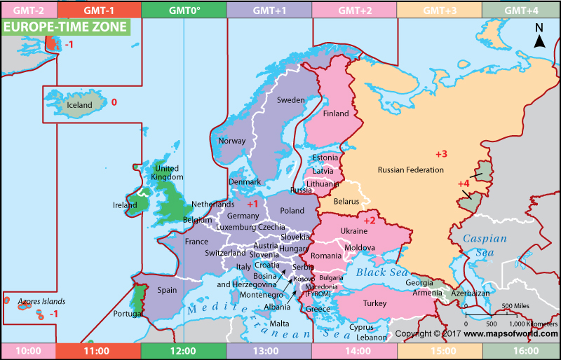 Description : Europe Time Zone Map showing time zones for each country