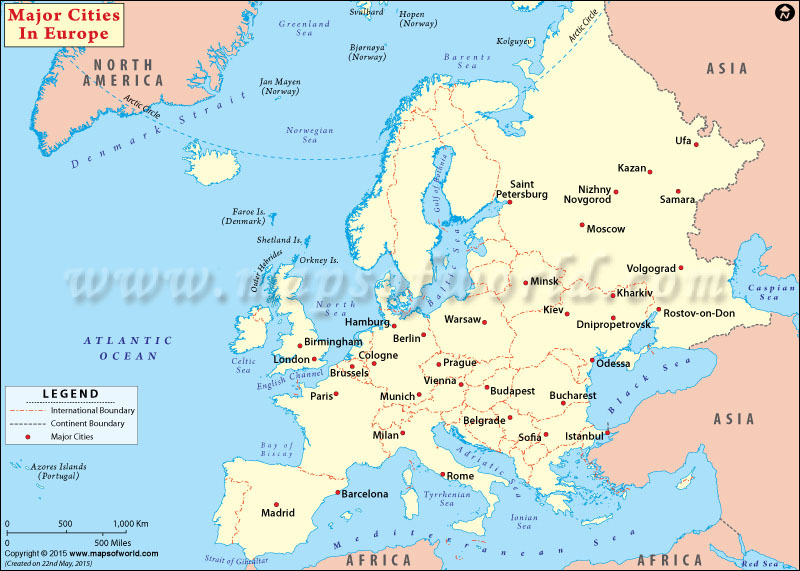 European Cities Cities in Europe Major Cities in Europe – Map of All Europe